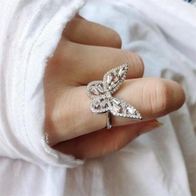 梨花HaNA 韓國925銀輕奢浪漫蝴蝶立體水鑽戒指