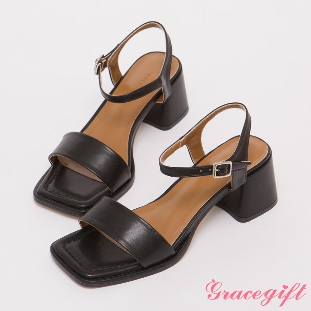 Grace gift-一字寬帶中粗跟涼鞋 黑