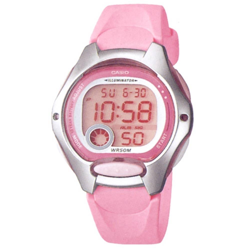 CASIO 超時空玩家電子運動錶-粉紅帶x銀框(LW-200-4B)/37.9mm