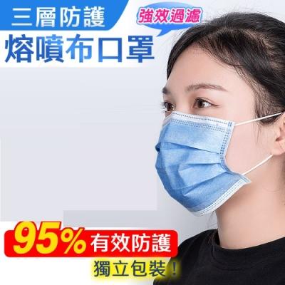 成人三層熔噴防護布口罩(50片/1盒)x3