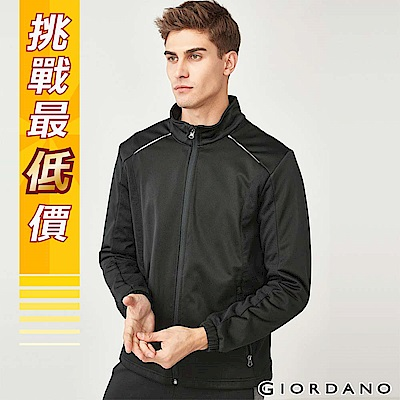 GIORDANO 男裝搖粒絨內裡立領夾克外套-09 標誌黑