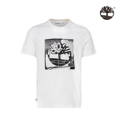 Timberland 男款白色KENNEBEC大樹LOGO有機棉短袖圓領T恤 A2F1X