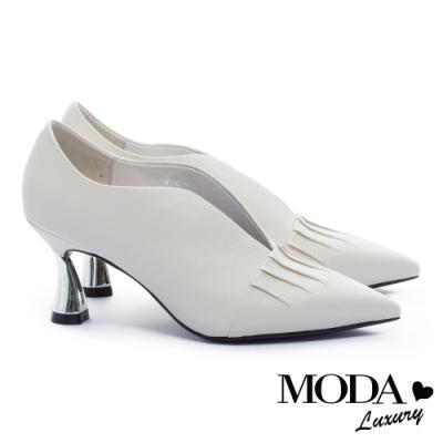 高跟鞋 MODA Luxury 簡約雅致皺折尖頭牛皮造型高跟鞋-白