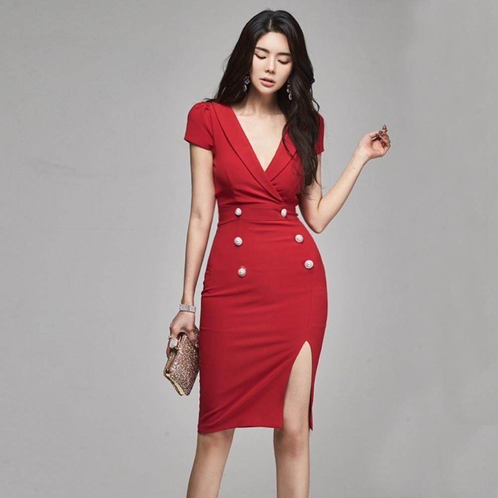 時髦性感深V開叉裙襬玲瓏曲線洋裝S-XL(共二色)-Sexy Devil