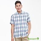 bossini男裝-格紋短袖襯衫02白