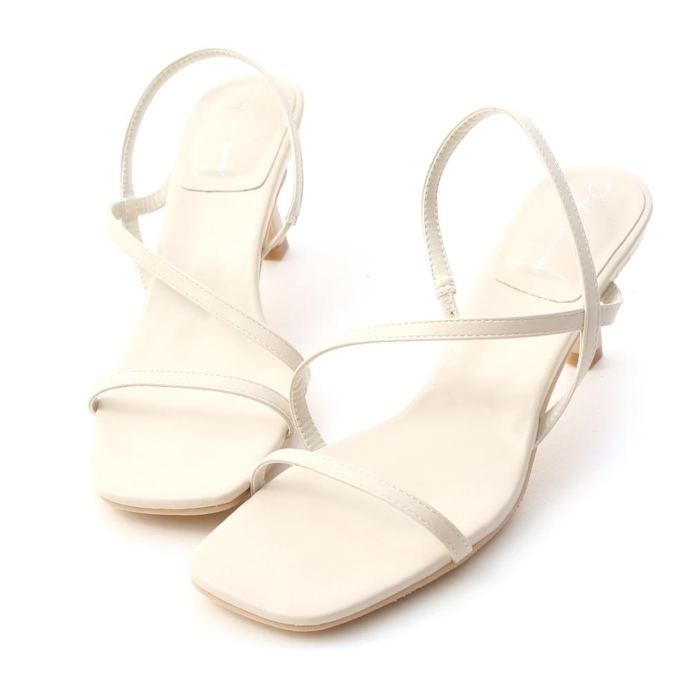 D+AF 完美線條.一字斜帶方頭高跟涼鞋*白