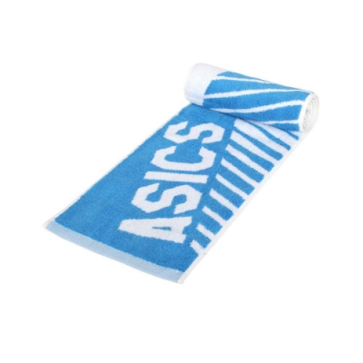ASICS 運動毛巾-純棉 台灣製 海邊 浴巾 游泳 戲水 慢跑 路跑 亞瑟士 Z32002-43 白寶藍