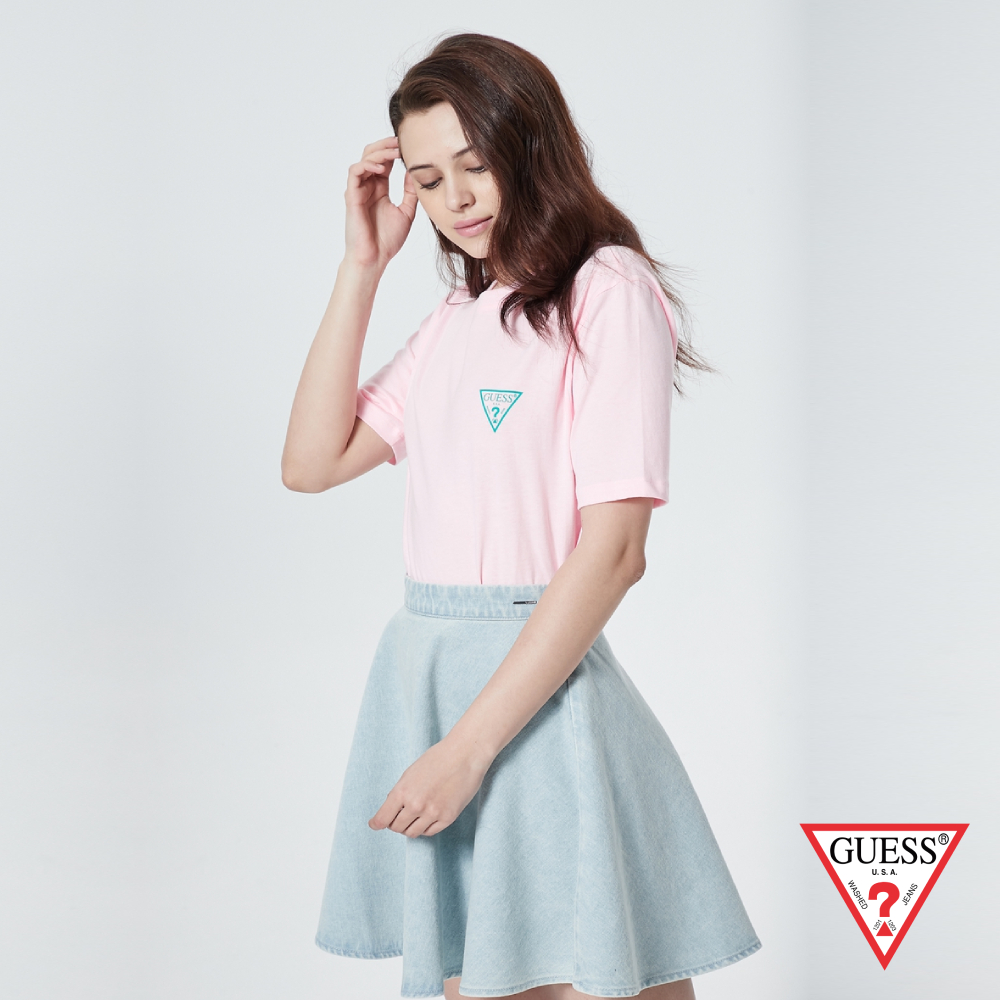GUESS-女裝-撞色前後雙LOGO短T,T恤-粉 原價1390