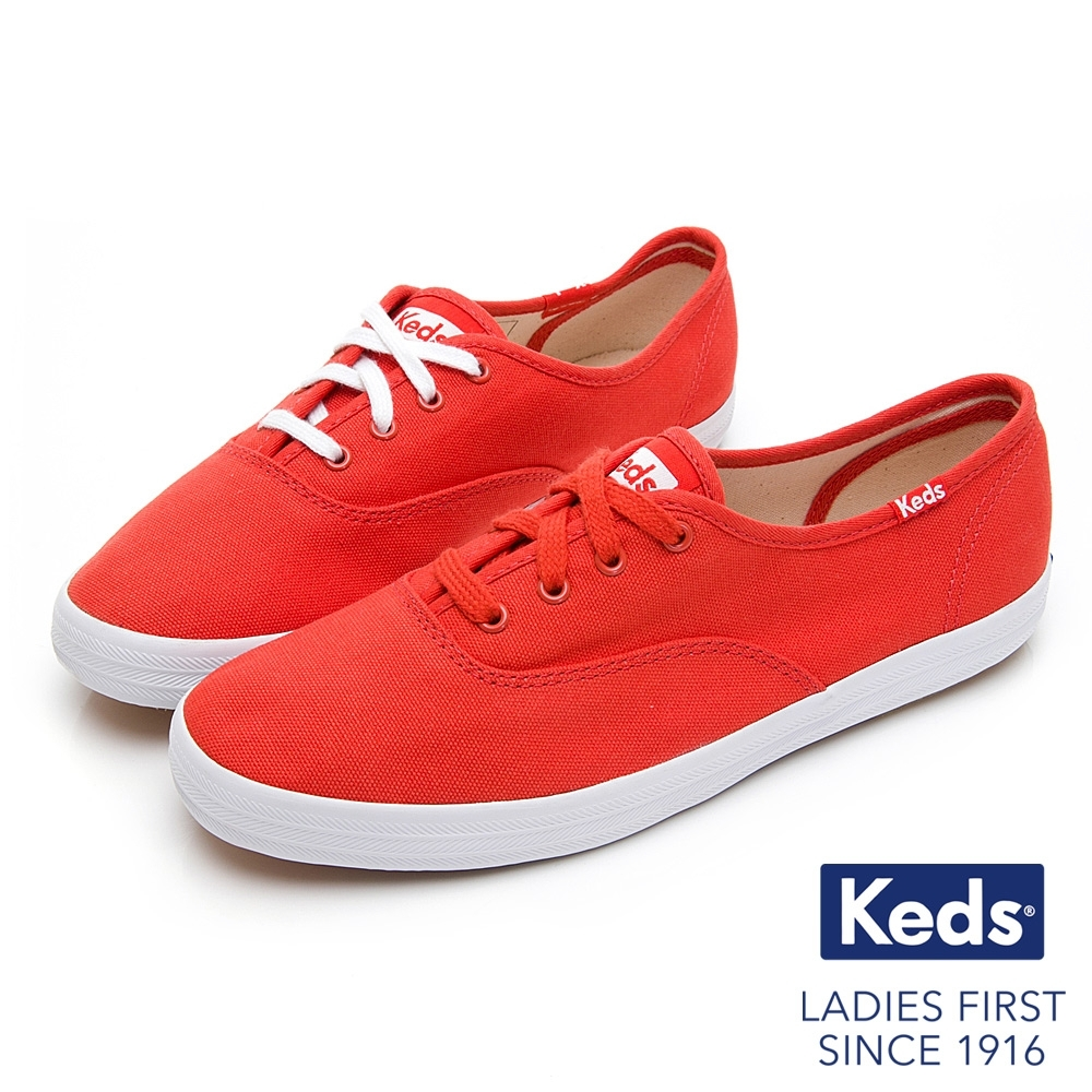Keds CHAMPION 繽紛活力綁帶帆布鞋-紅