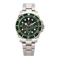 Valentino Coupeau 范倫鐵諾 古柏 陶瓷三眼水鬼腕錶(銀色/綠面/鋼帶)