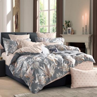 La Lune 台灣製300織紗長纖絨棉新式雙人兩用被單人床包四件組 Eaton Hall -灰