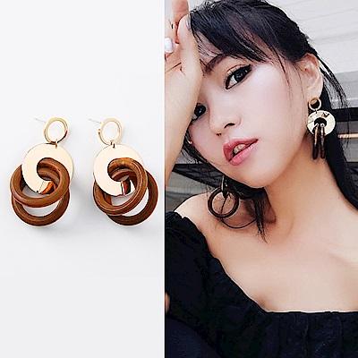 梨花HaNA 韓國金屬碰撞雙材質木質圓圈925銀耳環