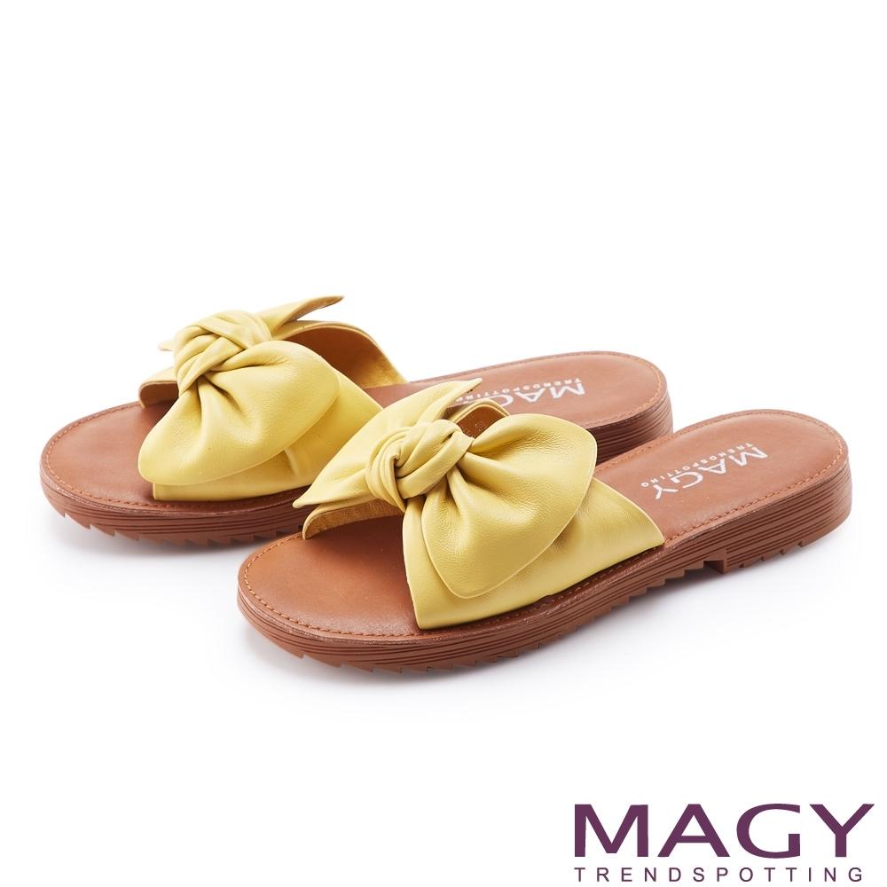MAGY 大蝴蝶結造型真皮平底 女 拖鞋 黃色