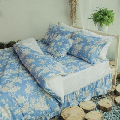 Microban 美國抗菌雙人加大五件式舖棉兩用被床罩組(碧天晴光)