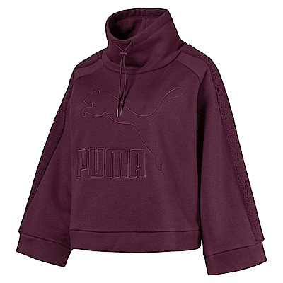 PUMA-女性流行系列Downtown刷毛圓領衫-濃暗紅-亞規