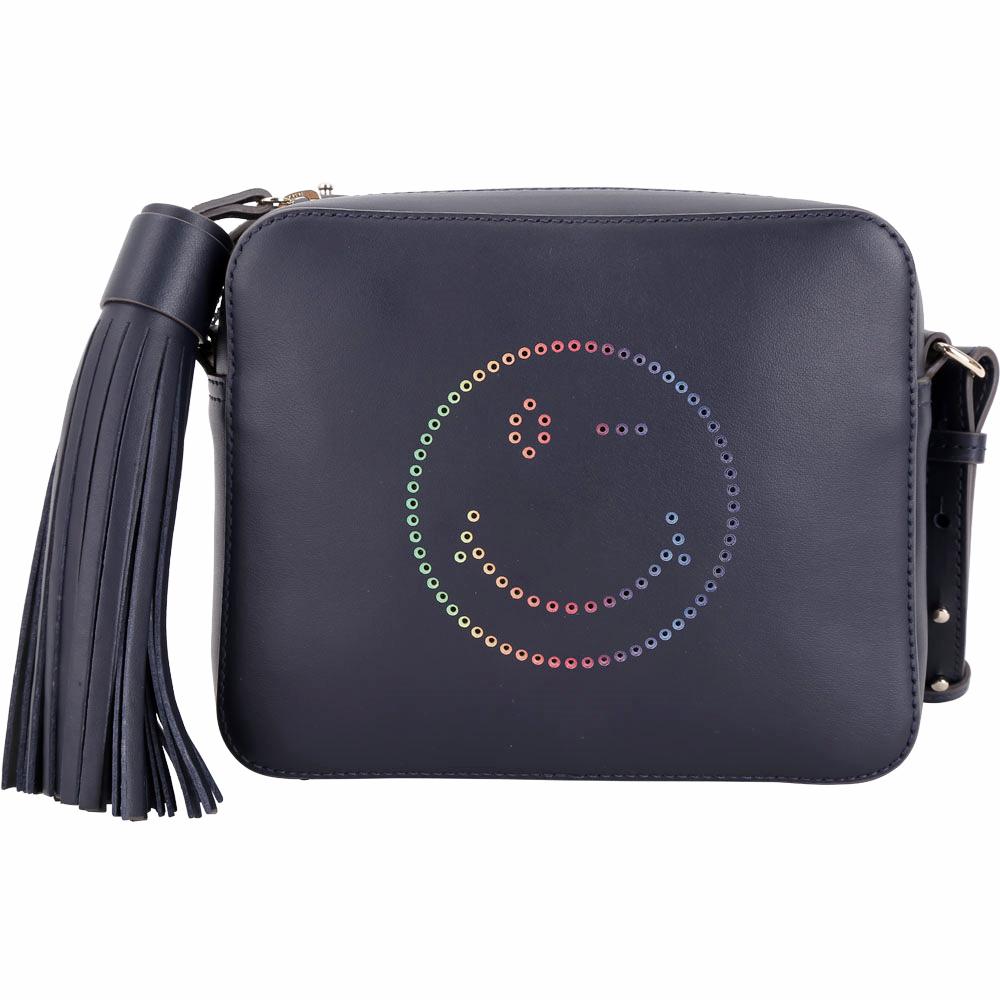 ANYA HINDMARCH Rainbow Wink 彩虹眨眼流蘇斜背相機包(藍)