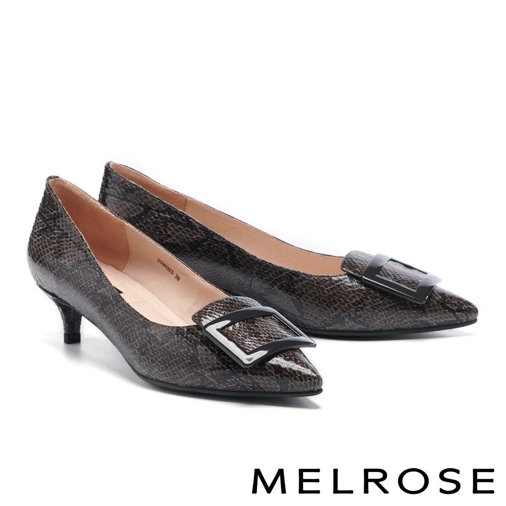 低跟鞋 MELROSE 氣質高雅方釦尖頭低跟鞋-灰