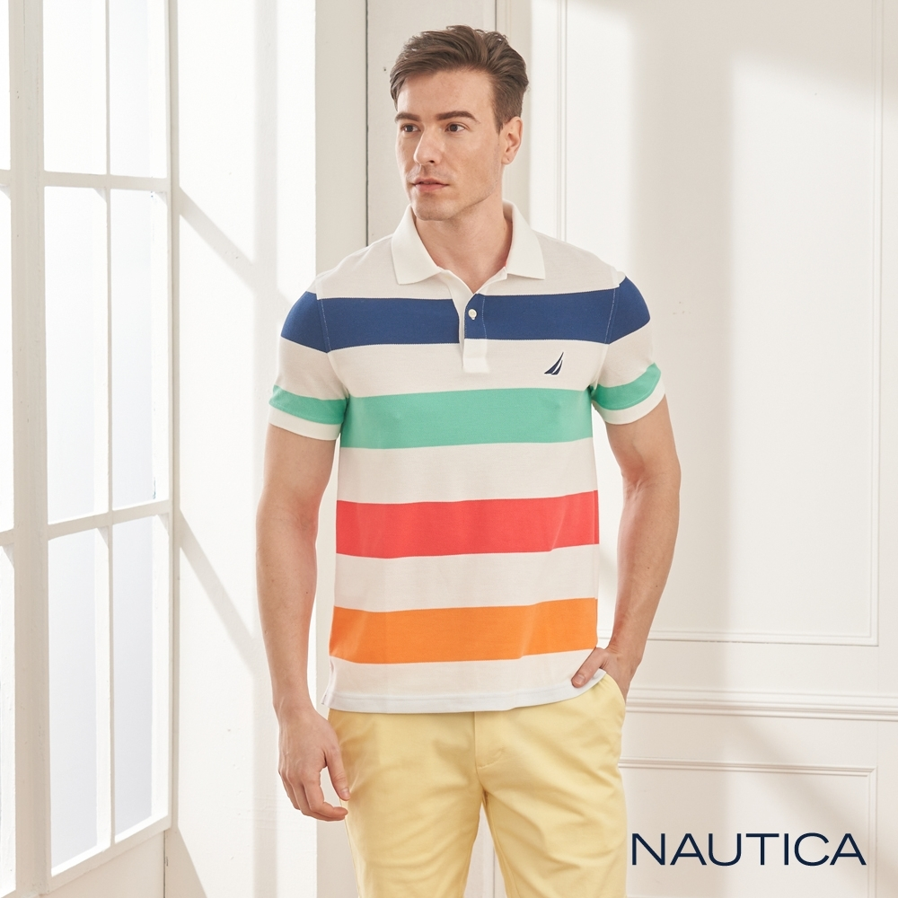 Nautica清新夏日條紋短袖POLO衫-白色
