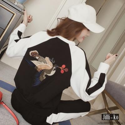 JILLI-KO 木鈕釦鳥兒繡線兩件式套裝- 黑色