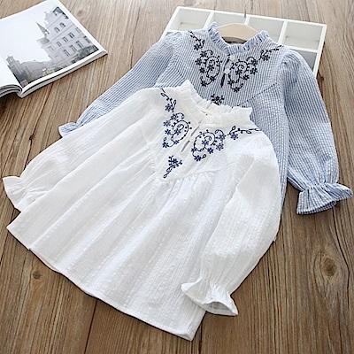 小衣衫童裝   公主系花邊領刺繡長袖襯衫1070331