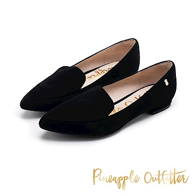 Pineapple Outfitter 知性美型 羊皮樂福尖頭低跟鞋-黑色