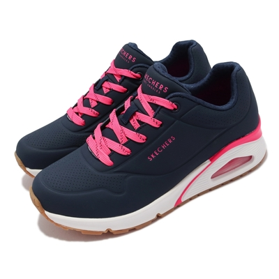 Skechers 休閒鞋 Uno Highlines 氣墊 女鞋 支撐 緩衝 修飾腿部線條 耐磨耐用 藍 粉 155172-NVHP