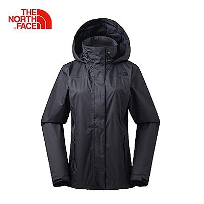 The North Face北面女款黑色防水透氣防風外套