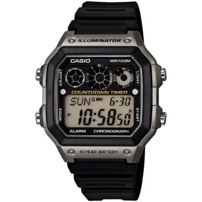 CASIO 雷神戰士個性運動電子錶-黑x銀灰(AE-1300WH-8A)/31mm