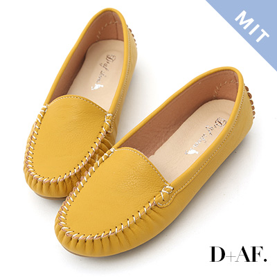 D+AF 舒適首選.MIT素面莫卡辛豆豆鞋*黃