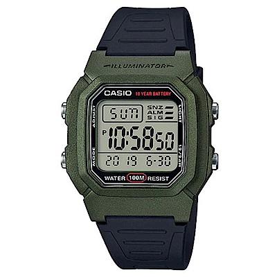 CASIO經典簡單大表面造型數位運動休閒錶-綠框X黑(W-800HM-3)/35.7mm