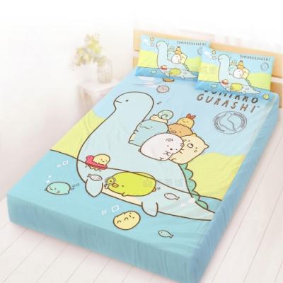 享夢城堡 雙人床包枕套5x6.2三件組-角落小夥伴 恐龍世紀-藍