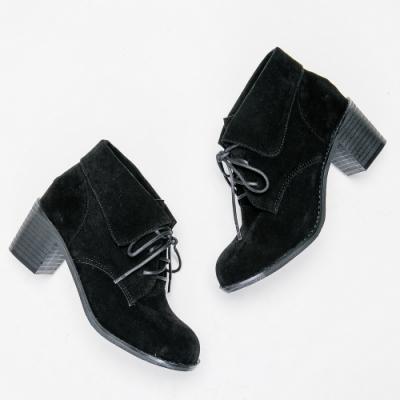 River&Moon短靴-反摺繫帶絨布粗跟短靴-  黑