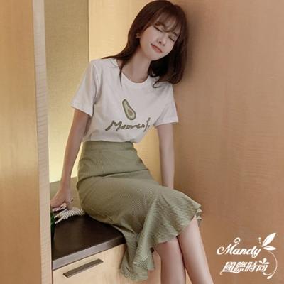 Mandy國際時尚 兩件套 牛油果刺繡上衣+格紋魚尾裙 【韓國服飾】