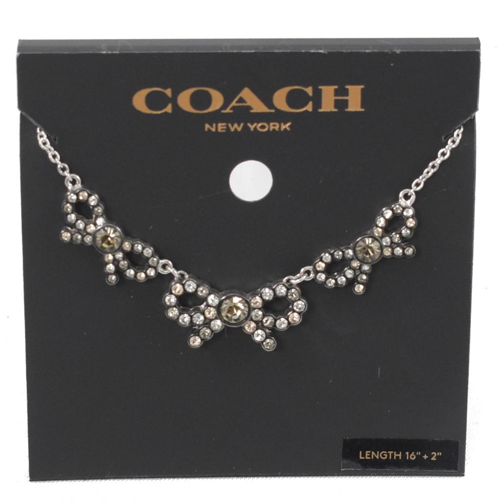 COACH 經典水造簡約造型蝴蝶結項鍊(銀)