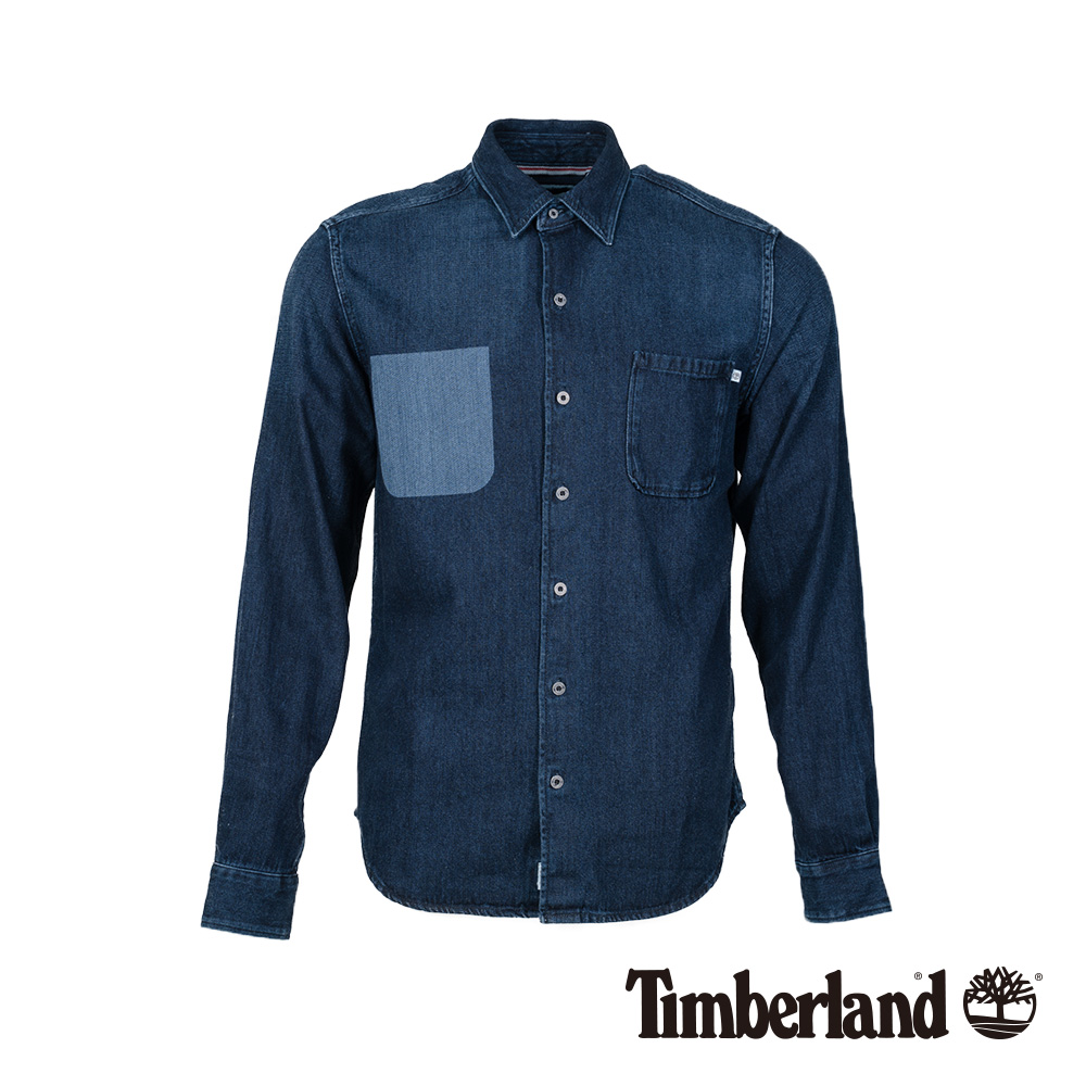 Timberland 男款靛藍色撞色修身牛仔長袖襯衫|A1NN6