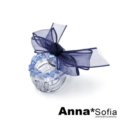 【3件480】AnnaSofia 彩晶紗結 迷你小髮抓髮夾(藏藍系)