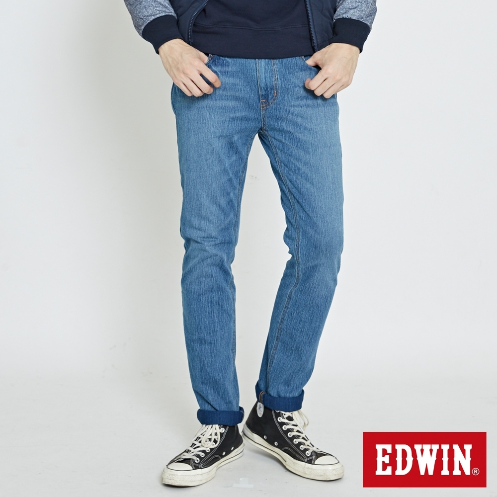 EDWIN 大尺碼 JERSEYS 迦績 復古棉中直筒牛仔褲-男-石洗藍