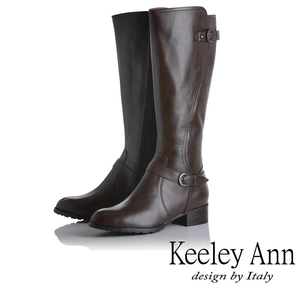 Keeley Ann 騎士風格~MIT雙釦帶全真皮質感長靴(咖啡色) @ Y!購物