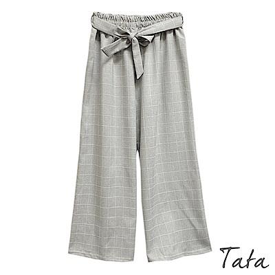 小清新格紋綁帶寬褲 共三色 TATA