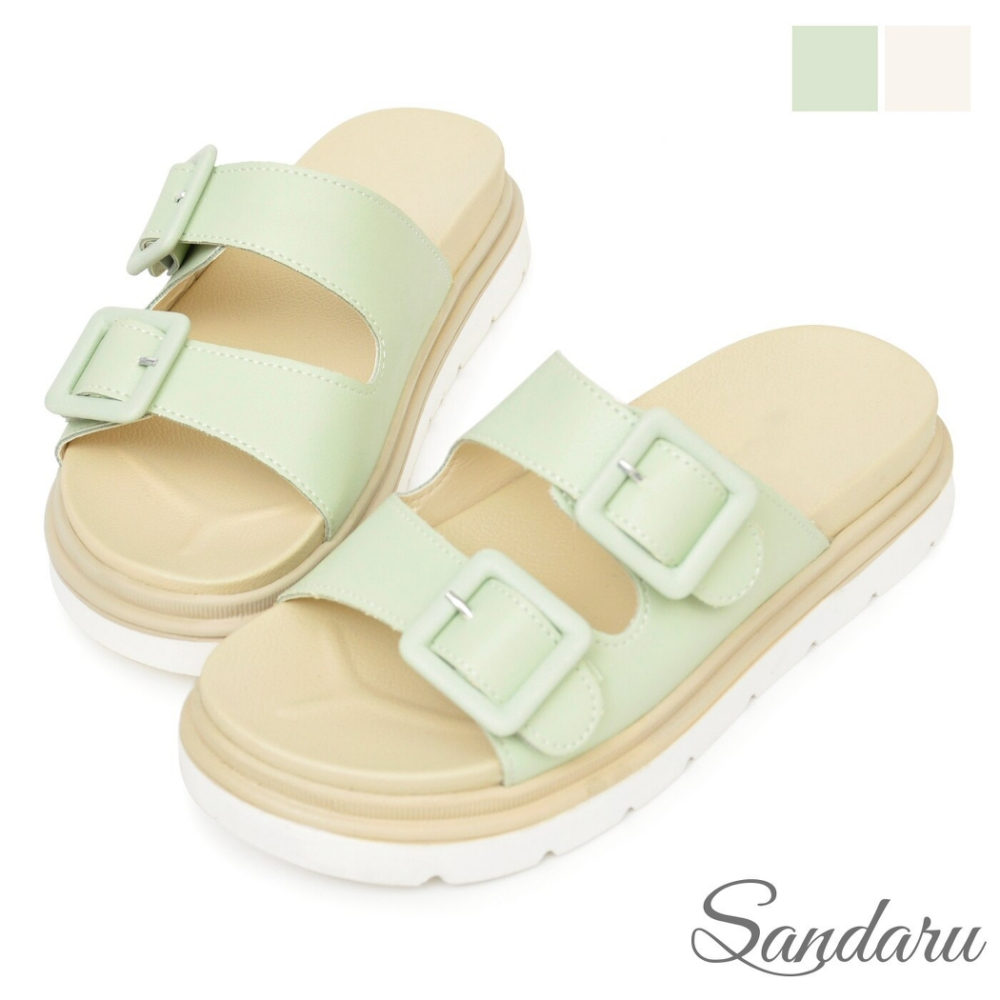 山打努SANDARU-拖鞋 清新雙帶飾釦厚底鞋-綠 (綠)