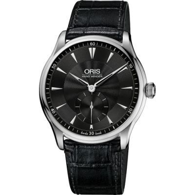 Oris Artelier 手上鍊小秒針腕錶-黑/40mm 0139675804054
