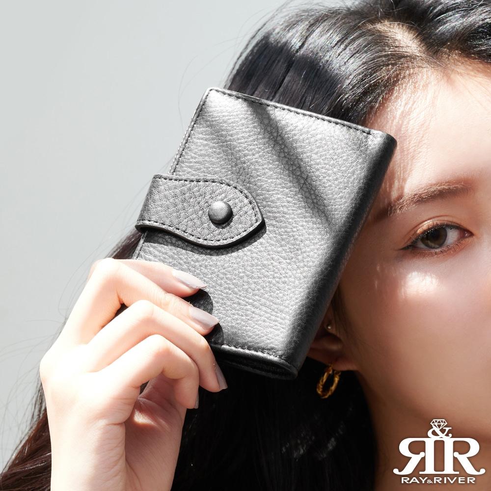 2R 細紋漾感牛皮Arad皮釦對開短夾 驚嘆黑
