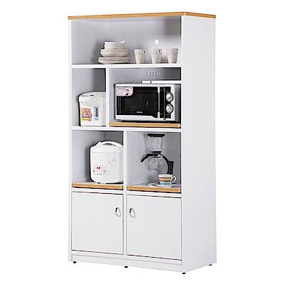 文創集 戴倫環保3尺塑鋼二門五格高餐櫃/收納櫃-90x42x180cm-免組