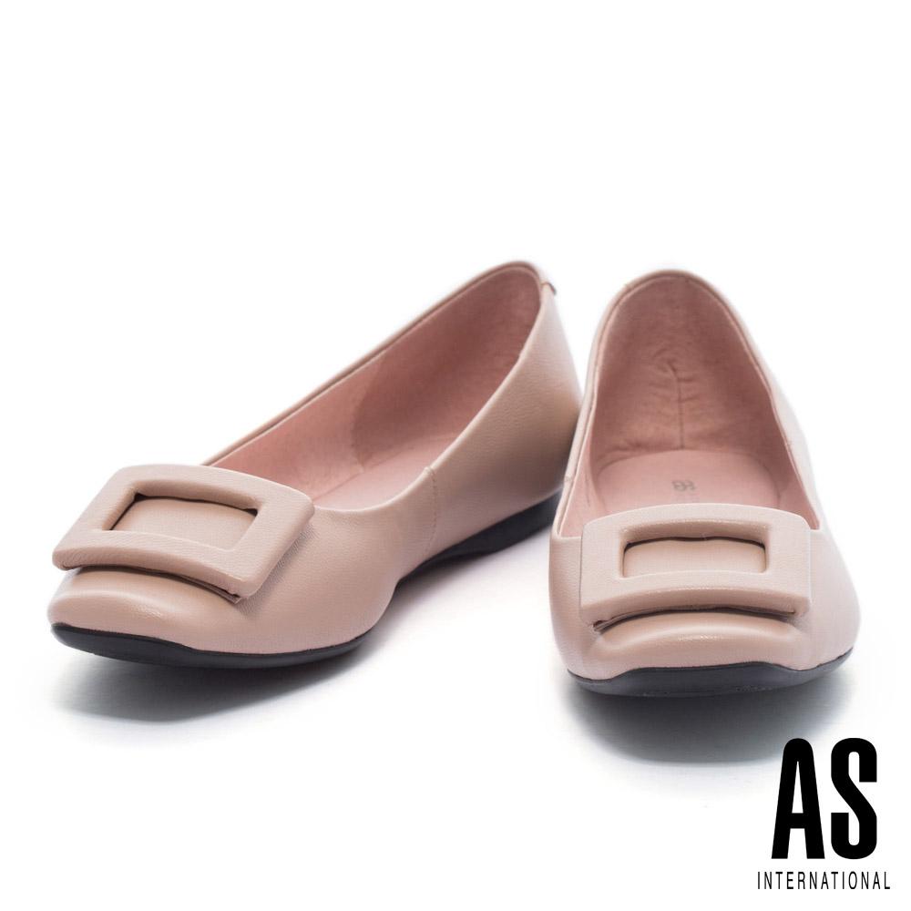 平底鞋 AS 都會知性方釦造型全真皮方頭平底鞋-粉