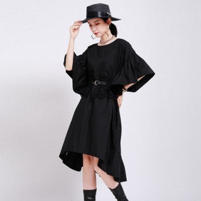 時尚寬鬆荷葉邊大袖子前短後長洋裝-F(共二色)-CLORI
