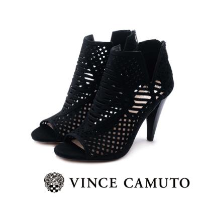 VINCE CAMUTO-ALLISTAN 古典簍空露趾美型高跟踝靴-絨黑色
