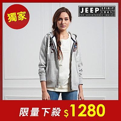 JEEP 美式冒險休閒連帽外套-男女適穿-灰色