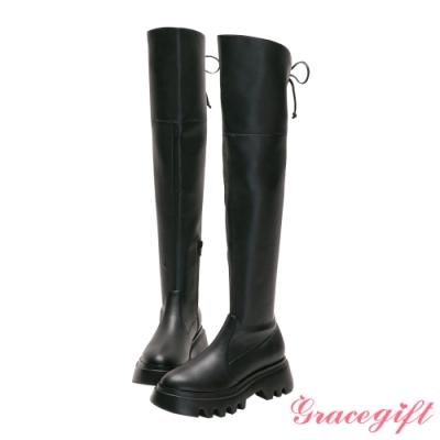 Grace gift-美戰變身器綁結厚底膝上靴 黑