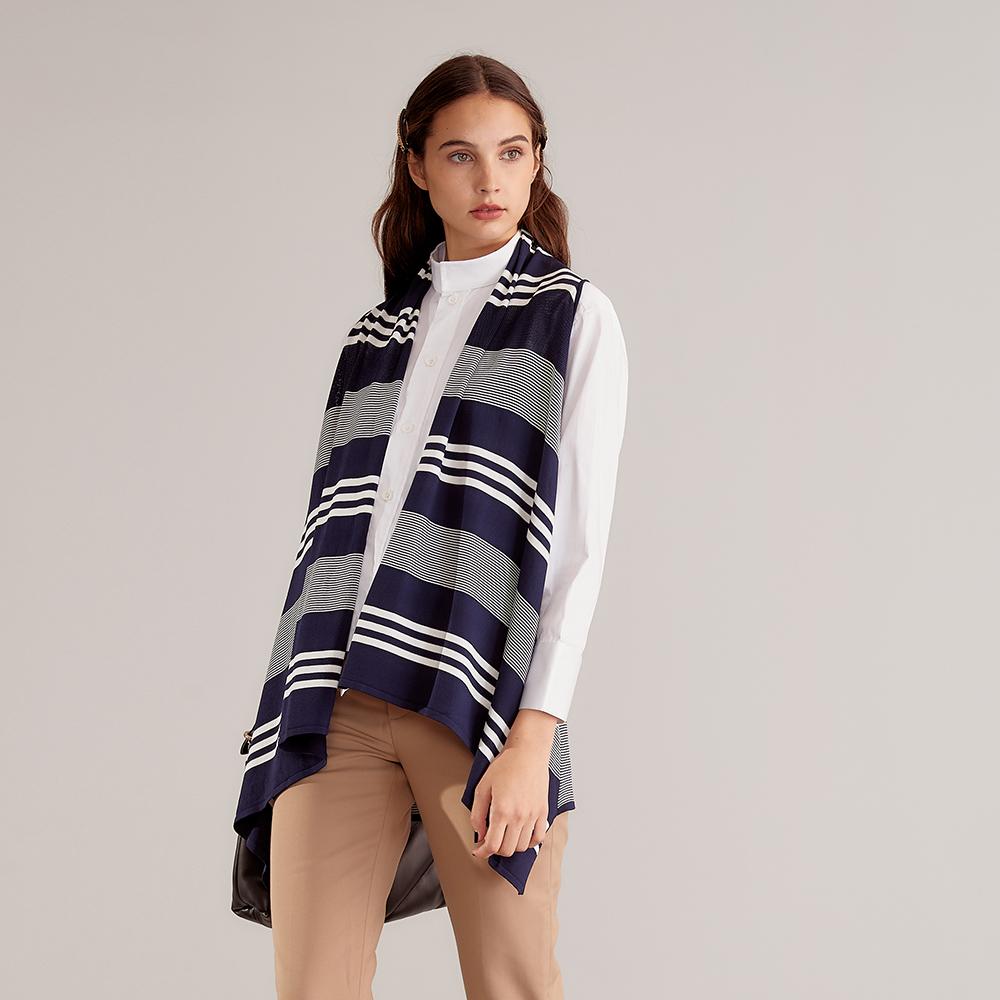 獨身貴族 條紋披肩百搭針織造型罩衫(兩色)-藏藍 product image 1