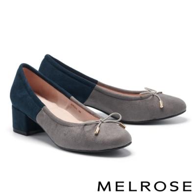高跟鞋 MELROSE 復刻時尚蝴蝶結造型拼接高跟鞋-灰